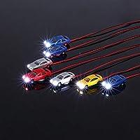 10 Piezas Quema Coches Luz Pintaron Cabeza Coche De Modelo Ligero Con Cable Miniatura Tren Damara Diseño Escala De 1: 150