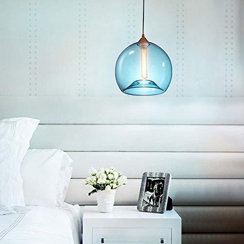 Kronleuchter Moderne anhänger beleuchtung einzigen kopf mundgeblasen blau blase glaskugel lampenschirm pendelleuchte esszimmer beleuchtung bar küche hängen beleuchtung, d30 * h177cm -