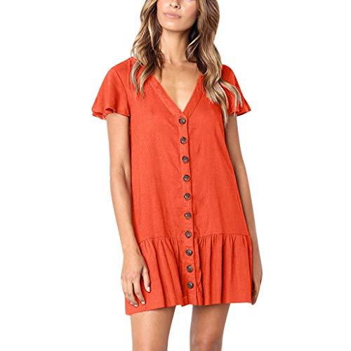 Makefortune-TOPS Sommerkleider für Frauen Casual V-Ausschnitt Minikleid Kurzarm Plissee Hem Hemdkleid Button Down Swing A Line Tunika-Kleid Plus Size für Damen Mädchen