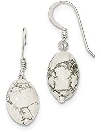 Sterling Silver Dangle Shepherd hook White Howlite Earrings