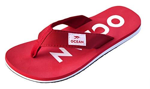 MADSea Ocean Ciabatte Infradito Flip Flops Uomo Donna Rosso Bianco, Dimensioni:43 EU, Colore:Rosso/Bianco