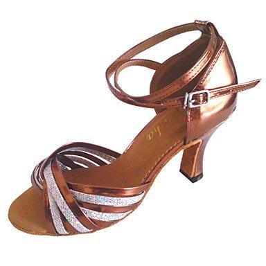 Silence @ Chaussures de danse en similicuir pour femme pour latine et Salsa bronze