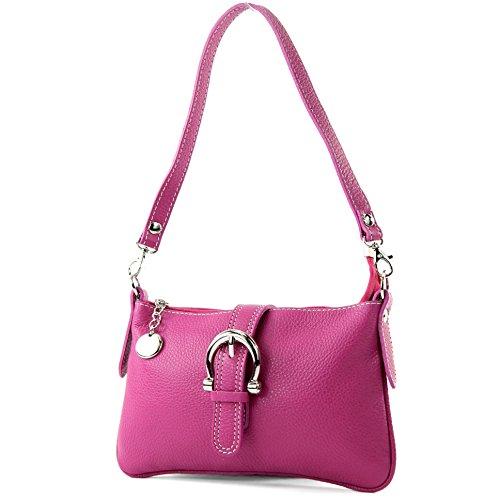 modamoda de - T05 - ital City-/Umhängetasche Klein aus Leder, Farbe:Pink -