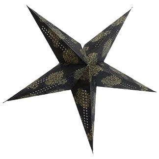 Brubaker–Estrella de papel estrella de Navidad plegable (con Print dorados y tono en purpurina Print en foto cartón Espresso 60cm diámetro