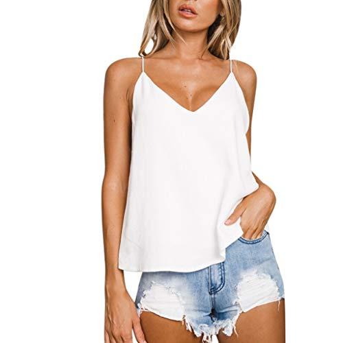 Camisetas TirantesSexy para Mujer Verano 2019 PAOLIAN Top TirantesFinos Fiesta Cuello V Sin Manga Blusas Vestir Camisolas Espalda Basicas Suelto