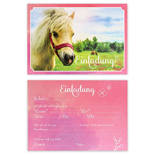 BEYMAX 10 süße Pferde-Einladungskarten mit Umschlägen zum Kindergeburtstag mit Pony– Geburtstagskarten für Mädchen – ideal für die Pferdeparty- Feier