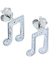 Coole Silber Ton Musiknote Violinschlüssel und Achtelnote mit Kristall-Clip auf