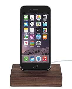 WoodenHP iPhone 6S / iPhone 6S Plus / iPhone 6 / iPhone 6 Plus / iPhone 5 / iPhone 5S / iPhone 5C / iPod Dock Inkl. Original Lightning-Kabel Nussbaumholz Dockingstation Ladestation