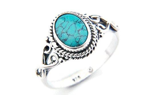 Ring Silber 925 Sterlingsilber Türkis blau grün Stein (MRI 42), Ringgröße:56 mm/Ø 17.8 mm (Antik Trachten Schmuck Ringe)