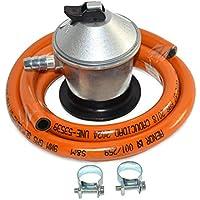 S&M 321771 Regulador de Gas butano+ Tubo Goma 1,5 m + 2 Abrazaderas, Gris/Naranja, Unica