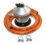 S&M 321771 Regulador de Gas Butano+ Tubo Goma 1,5 M + 2 Abraz, Gris/Naranja, Metros
