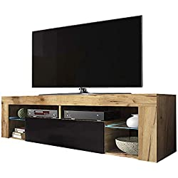 Selsey Hugo - Meuble TV/Banc TV (140 cm, Chene Lancaster/Noir Brillant, avec LED)