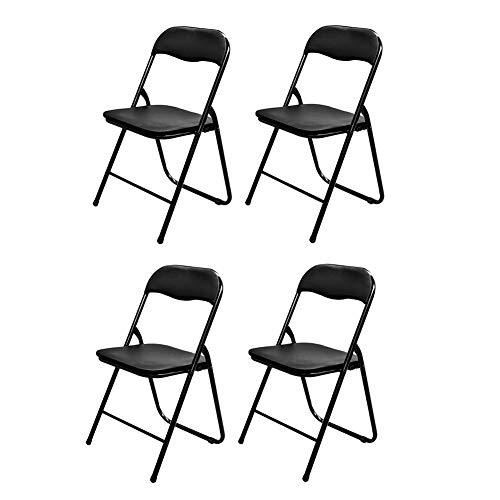 TLMYDD Klappstuhl Hocker Schreibtisch Gefüllter Stahlrohrrahmen Grün Schwarz Blau 4 X Stuhl (Color : Black)
