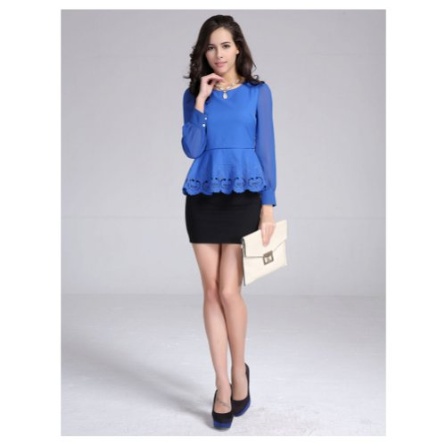 Pull chemise a Manches Longues dentelle Top Shirts Blouse Bleu