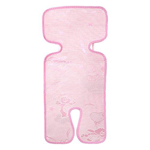 Baby Kinderwagen Kühlmatte, Ice Seide Pad, atmungsaktiv und Schweißabsorbierend Infant Baby Sommer Leinen Cool Cover Schlafmatte für Kinderwagen und Tragetaschen Autositz rose