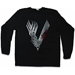 Vikings Logo Celtic T-Shirt De Manga Larga Long Sleeve Shirt - TV Series Yggdrasil Ragnar Vikingos escandinavo Ragnarök Thor Vikings T-Shirt De Manga Larga Long Sleeve Shirt Tamaños S - 5XL