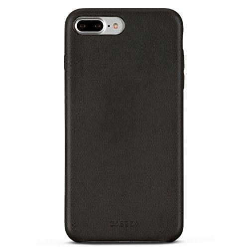 Funda iPhone 7 Plus Negra - CASEZA 'Rome' Piel PU Case Negro Cover Carcasa Tapa Trasera Piel Vegana Premium para Apple iPhone 7 Plus (5.5') Original - Ultrafina Protección Completa