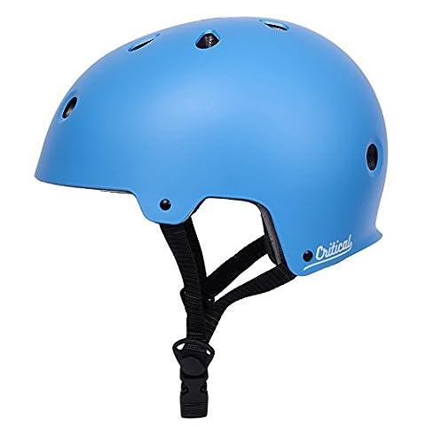 Critical Cycles 2442 Klassischer CM2 Helm, Pendlerrad/Skate/mehrere Sportarten - Matt Himmelblau, M/55 - 59 cm