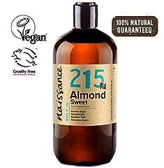 Idea Regalo - Naissance Mandorle Dolci Naturale 500ml - Vegan, senza OGM - Ideale per la Pelle e i Capelli, l'Aromaterapia e come olio da Massaggio di base