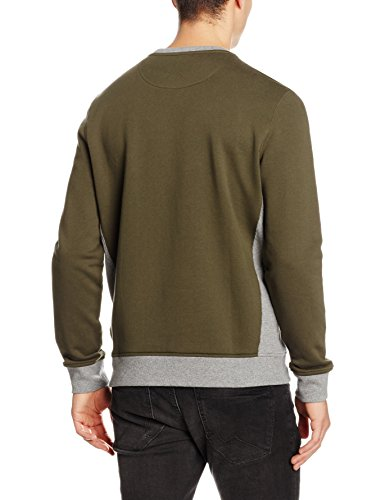 Lyle & Scott Herren Sweatshirt Contrast Rib Crew Neck Green (Dark Sage)