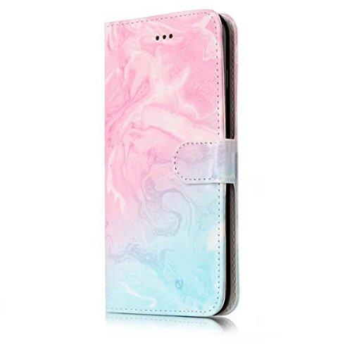 GR iPhone 7 Plus / 8 Plus Case-Bunte Marmor Leder Hülle mit Wallet Kickstand ( Color : G ) B