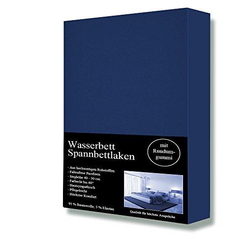 Wasserbett Spannbettlaken Spannbetttuch, 180 x 200cm bis 200 x 220cm, 95%Baumwolle +5% Elasthan,Steghöhe 40cm (Blau)