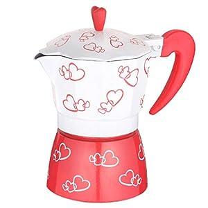 Demiawaking 3-Cup Espresso Coffee Maker Aluminum Heart Print Italian Coffee Maker Moka Pot Latte Percolator Stove Top