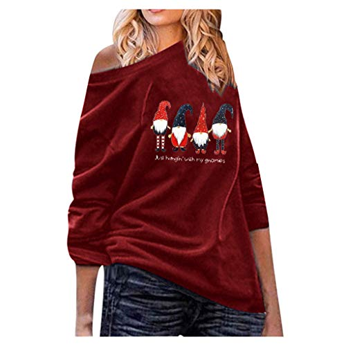 Auiyut Damen Langarmshirt Off Shoulder Elegante Bluse Weihnachts Deko Gedruckt Tops Nettes Streetwear Groß Größen Christmas Jumper Lässig T-Shirt S-5XL Party Kostüm