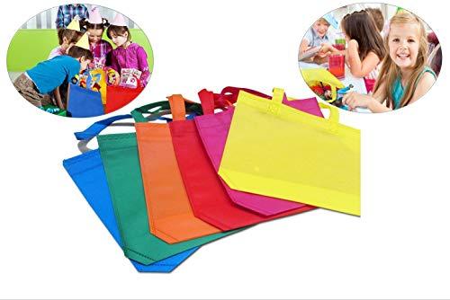 AMGOMH 24 Stücke Vlies Party Geschenk Taschen Partytüten Geschenktaschen mit Griffen für Kinder Geburtstagsparty Favor (6 Farben, 25 * 35CM) -
