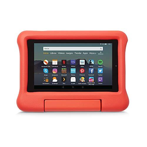 Funda infantil para tablet Fire 7 (compatible con la 9.ª generación - modelo de 2019), rojo