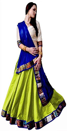 Sunshine Fashion Green & Blue Color Banglori Silk and Net Fabric Embroidery Lehnga. ( New Arrival Latest Best Design Beautiful Dresses Material Collection For Women and Girl Party wear Festival wear Special Function Events Wear In Low Price With High Demand Todays Special Offer and Deals with Fancy Designer and Bollywood Collection 2017 Punjabi Anarkali Chudidar Patialas Plazo pattern Suits )