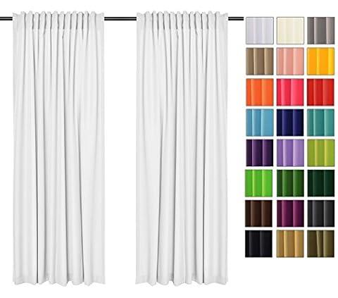 Sonnenschutz und Sichtschutz 2er Pack Vorhänge mit Tunnelband (Weiß 1, 135x240 cm - BxH) Dekorative Blickdicht 2 Stücke Gardinen, Vorhang Schal für Schlafzimmer, Kinderzimmer, Wohnzimmer 40