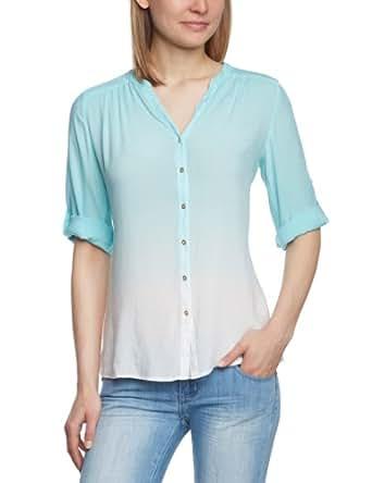 Mavi Damen Bluse FOLDED SLEEVE SHIRT; clear blue; 120035-14804, Gr. 40/42 (M), Mehrfarbig (14804; FOLDED SLEEVE SHIRT; clear blue)