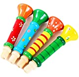 Scrox 1 Pcs Wooden Whistle Children \'s Small Speakers Toys Trumpet Toys Playing Whistle Instruments Infant Early Education 1Pcs (Random Color)