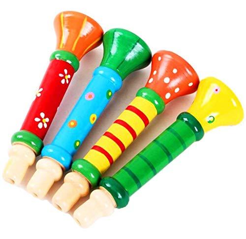 scrox 1Stück Pfeife,Trompete, Flöte, aus Holz, Kleiner Lautsprecher, Spielzeug-Instrument für die Früherziehung von Kleinkindern (zufällige Farbauswahl)