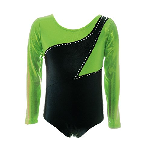 �r Mädchen Leotards for Gymnastics Gymnastic Trikots für Mädchen Langarm Hit Color Stitching Dance Kostüme Ballett Tanz Athletic Bodys Alter 2-11 (Hübscher Tanz Kostüme Für Mädchen)