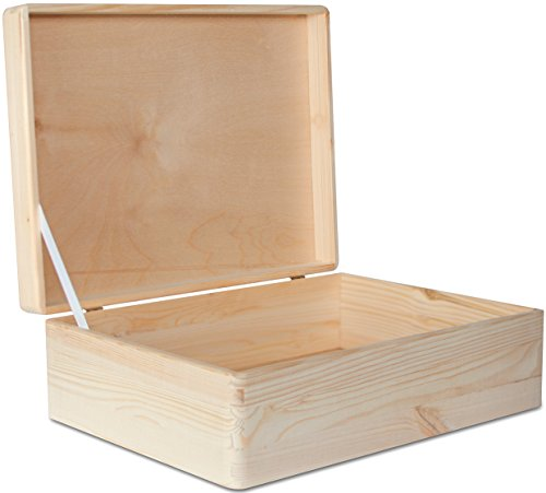 XL Große Holzkiste Aufbewahrungsbox Holzbox Kiste mit Deckel - 40 x 30 x 14 cm - Unlackiert Hölzernen Kasten - ohne Griffen - Ideal für Dokumente, Wertsachen, Spielzeuge und Werkzeuge (Werkzeug Aufbewahrung Holz Box)