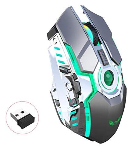 Kabellose Aufladung RGB-Lampe 2,4-G-Maus, Photoelektrische Auflösung 2400 (DPI) Ergonomisches Design Taste 7-Tasten-PC-Tablet-Gaming-Maus, Kaufen Sie Eine, Erhalten Sie Eine Kostenlos (Grau)