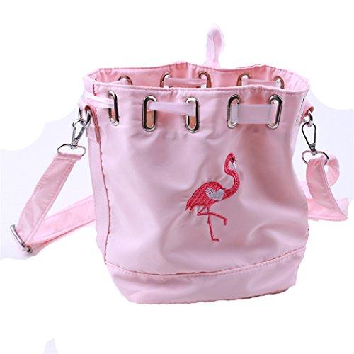 Chinget Damen Mädchen Polyester Flamingos Gedruckt Handtaschen Crossbody Schulter Messenger Taschen Kuriertaschen (Rosa)