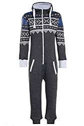 Unisex Mens Aztec Army Print Onesie Zip Up All In One Hooded Jumpsuit S-XL (Small, Charcoal Aztec)