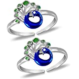 MJ Exuberant Colourful Peacock Design Toe Rings in Pure 92.5 Sterling Silver for Women