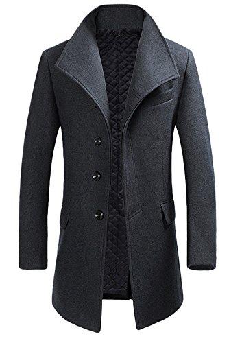 Homme Hiver Manteau Trench-Coat Chaud slim fit Casual Veste long en Laine Caban mode classique noir