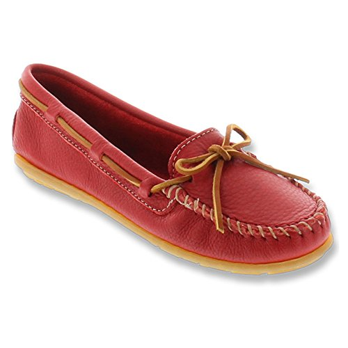 Minnetonka Boat Moc 616S, Mocassini donna Red Leather