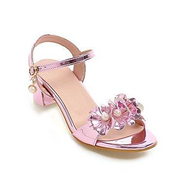 Donna Sandali Estate Autunno Comfort fiore ragazza scarpe tacchi minuscola per gli adolescenti PU party di nozze & abito da sera Chunky HeelImitation perla Blushing Pink