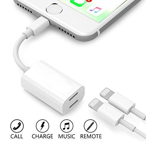 Stillcool adattatore & splitter per iPhone 7/7Plus, iPhone 8/8Plus, iPhone x ,2in1Lightning audio per cuffie audio adattatore (supporto + ricarica + caricatore + iOS 10.3/11o superiore) (bianco)