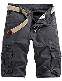 TEBAISE Pants Pure Color Shorts Herren Outdoor Taschen Strand Arbeit Hosen  Cargo Pant 3 4 ae87a612ce