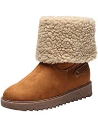 be0bcaf388ae BaZhaHei Women Plus Velvet Snow Boots Winter Warm Anti-Slip Short Boots  Round Toe Ankle Booties Slip-On Shoes…