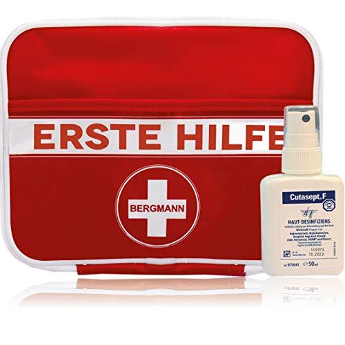 """2 in 1 Erste Hilfe Set""""BERGMANN"""" 【Deutschsprachiger Inhalt】+ GRATIS Cutasept Desinfektionsmittel, 1. hilfe für den Notfall, Wandern, Reise, Zuhause und Kinder"""