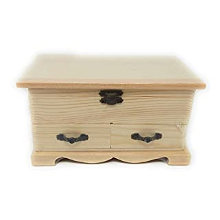 Anday srl Mini Chest with Compartment + 2 DRAWERS Raw Wood