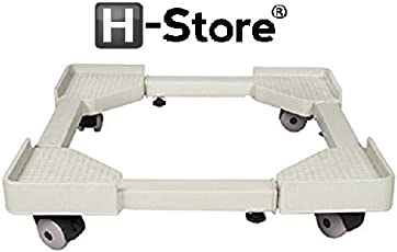 H-Store White Plastic Trolly Stand for Refrigerator/Almirah Stand Washing Machine,Air Cooler,Wardrobe, Multi-Purpose use, with Stopper